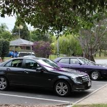 Wedding cars await